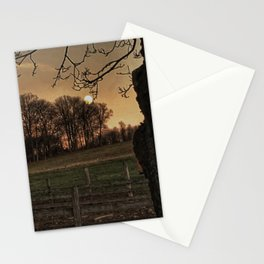 Super Moon over the Farm Stationery Cards