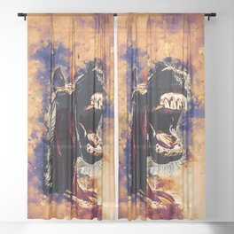 horse hilarious big mouth watercolor splatters late sunset Sheer Curtain