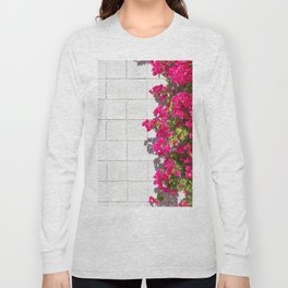 Bougainvilleas and White Brick Wall in Palm Springs, California Long Sleeve T-shirt