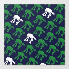 AT-AT's in Green and White on Navy Canvas Print