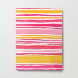 Pink and Yellow Sunny Day Stripes Metal Print