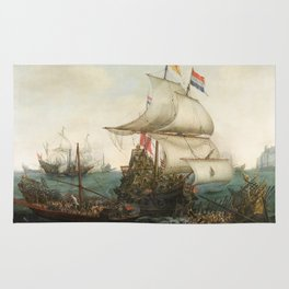 Dutch Ships Ramming Spanish Galleys off the Flemish Coast Rug