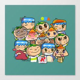 character of sticker line Canvas Print