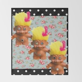 Mentalembellisher Mad-Eyed Troll Triplets Flowers & Polka Dots Throw Blanket