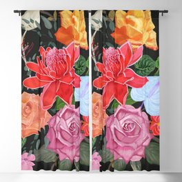 Tropical flowers and roses artistic flower bouquet pattern black Blackout Curtain
