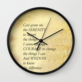 Serenity Prayer Abstract Sunflowers Wall Clock