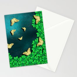 clover and butterflies Stationery Cards