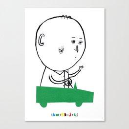 A man in a car Canvas Print