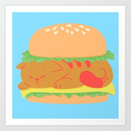 Burger Cat Art Print