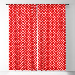 Tiny Paw Prints Pattern - Bright Red & White Blackout Curtain