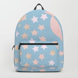 sweet pastel gold colors moon and stars bluish gray background Backpack