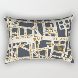 PARIS MAP GREY GOLD Rectangular Pillow