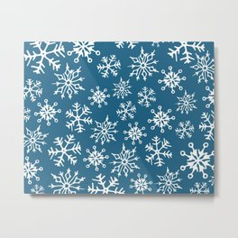 Snowflakes Pattern (Dark Blue) Metal Print