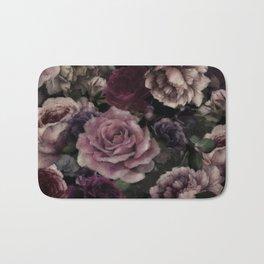 Roses In Burgundy And Pink Vintage Botanical Garden Flowers Bath Mat