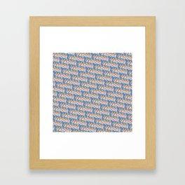 'J'adore' Trendy Rainbow Text Pattern (Blue) Framed Art Print