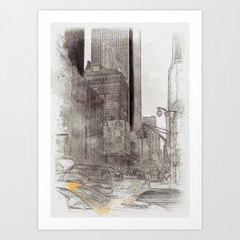 NYC Yellow Cabs Sex City - SKETCH Art Print