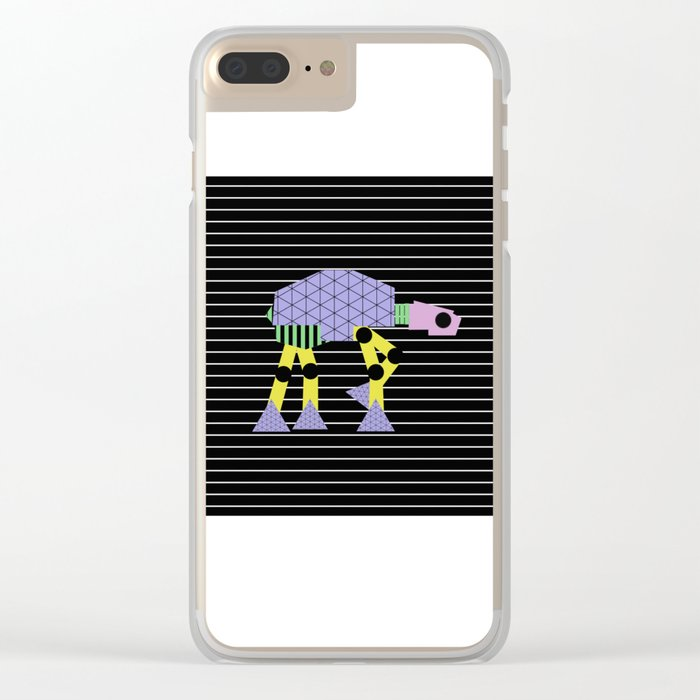 Geometric AT-AT Walker (Pastel Shapes Artwork - Cult Film) Clear iPhone Case
