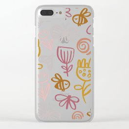 Bee with Flowers Clear iPhone Case