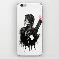 mockingjay iPhone & iPod Skins featuring Mockingjay by anazhinka