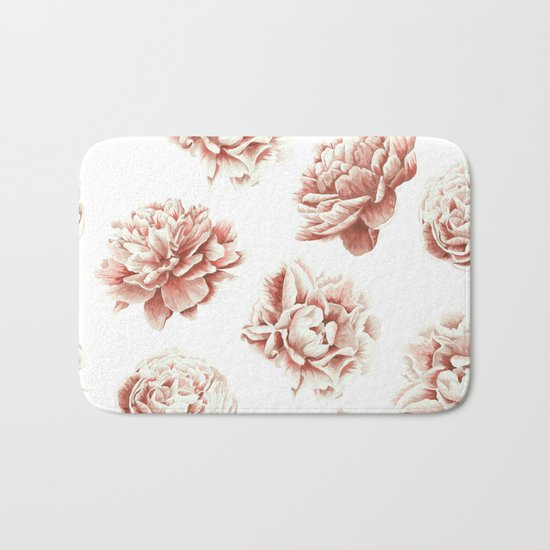 Rose Garden Vintage Rose Pink Cream and White Bath Mat
