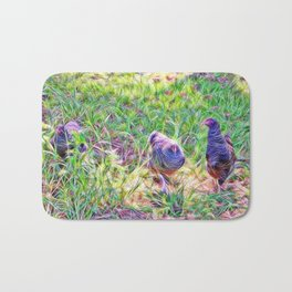 Hens in a field Bath Mat