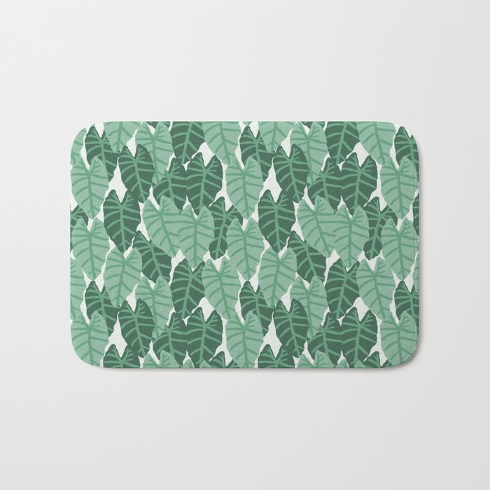Alocasia indoor house plant hipster watercolor plant pattern botanical leaves green painting home Bath Mat