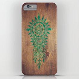 emerald green rustic mandala iPhone Case