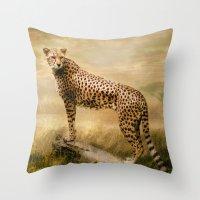cheetah Throw Pillows featuring Cheetah by tarrby/Brian Tarr