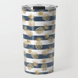Modern nautical navy blue stripes faux gold pineapple Travel Mug