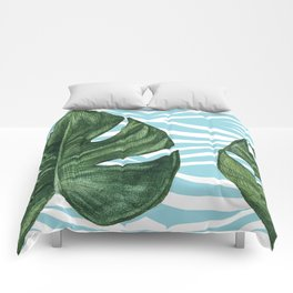 Tropical Watercolor Swiss Cheese Leaf and Zebra Comforters