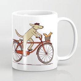 Cycling Dog with Squirrel Friend Coffee Mug