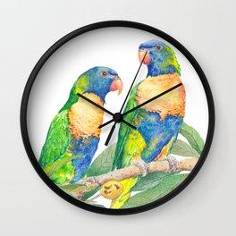 Rainbow Lorikeet Couple - watercolour of Australian parrots Wall Clock