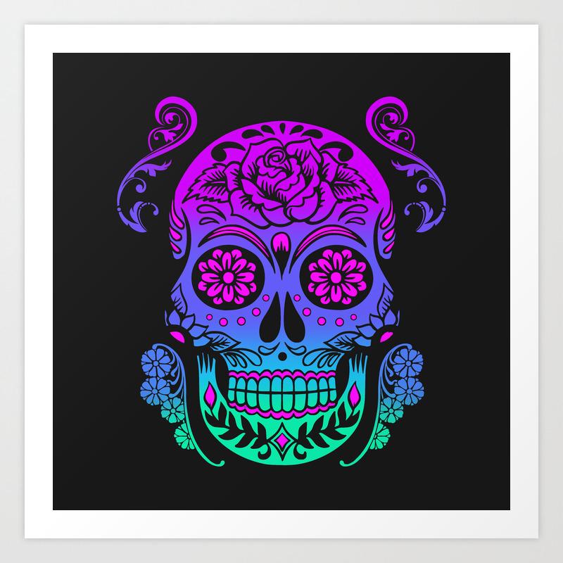 Sugar Skull Neon Flower Art Print By Monolithdesign Society6