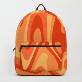 Mid Century Modern Liquid Fire Abstract // Red, Orange, Mustard Yellow Backpack