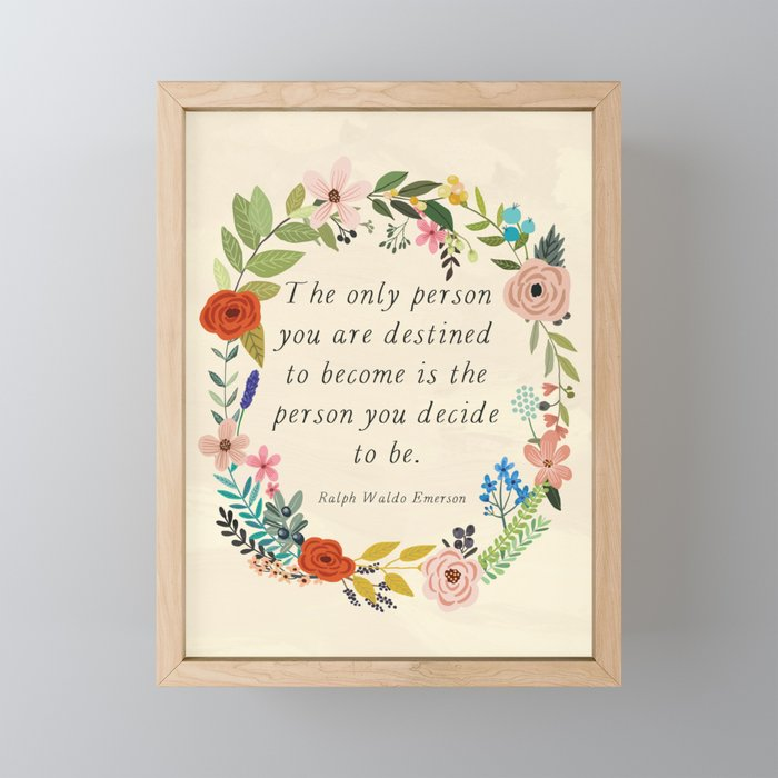 Emerson quote Framed Mini Art Print