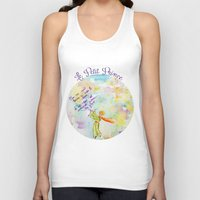 le petit prince Tank Tops featuring Le Petit Prince- The little Prince flying by Colorful Simone