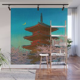 Vintage Japanese Woodblock Print Pastel Colors Blue pink Teal Shinto Shrine Cherry Blossom Tree Wall Mural