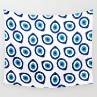 evil eye Wall Tapestries featuring Evil Eye Teardrop by Katayoon Photography