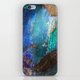 Turquoise geode opal iridescent holographic druse crystal quartz agate gem gemstone mineral stone iPhone Skin