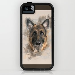 Baron the German Shepherd Neutral Watercolor iPhone Case