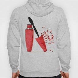 Red mascara fashion watercolor illustration Hoody