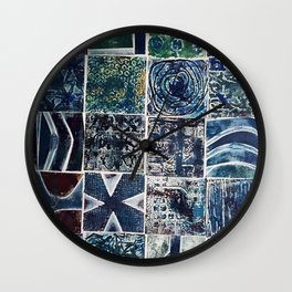 Quilt of a Sort in Blue Wall Clock