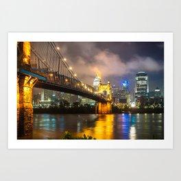 Clouds over the Cincinnati Skyline - Night Cityscape Art Print