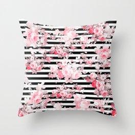 Vintage blush pink floral black white stripes Throw Pillow