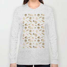 Gold Roses Rosette Pattern Golden on White Long Sleeve T-shirt
