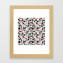 Plaid antler deer stocking christmas pudding christmas trees candy canes Framed Art Print