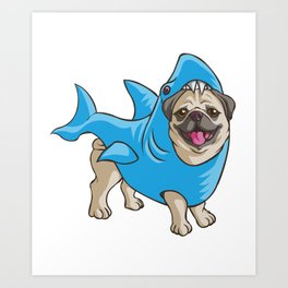 Pug Shark Suit Art Print