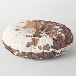 Dark brown aquarelle painting cowhide cow fur Floor Pillow