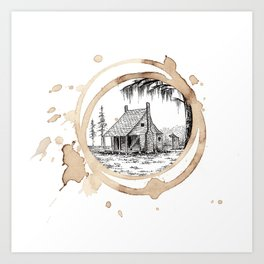 Coffee Stain Cajun Home-Louisiana Series Art Print