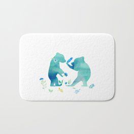 Playing bear kids - Watercolor animal illustration Bath Mat